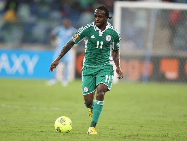Victor Moses of Nigeria kicks the ball during the 2013 African Cup of Nations Semi-Final match between Mali and Nigeria at Moses Mahbida Stadium on February 06, 2013 in Durban, South Africa. (Getty Images)