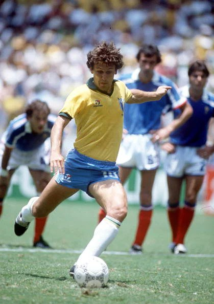 1986 World Cup Quarter Final, Guadalajara, Mexico, 21st June, 1986, France 1 v Brazil 1, (France win 4-3 on penalties), Brazil's Zico shapes to shoot from the penalty spot during the normal ninety minutes, his first kick of the game after coming on as a s