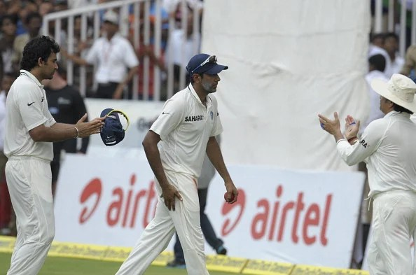 Ashwin is applauded by teammates as he walks back after the completion of New Zealand's first innings during the third day of the first Test between India and New Zealand at the Rajiv Gandhi International Cricket Stadium in Hyderabad on August 25, 2012. (Getty Images)
