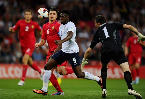 Danny Welbeck runs through on goal to score their third goal during the FIFA 2014 World Cup Qualifying Group H match between England and Moldova at Wembley Stadium on September 6, 2013 in London, England.  (Getty Images)