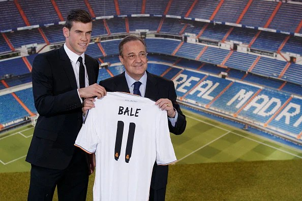 Gareth Bale alongside president Florentino Perez.