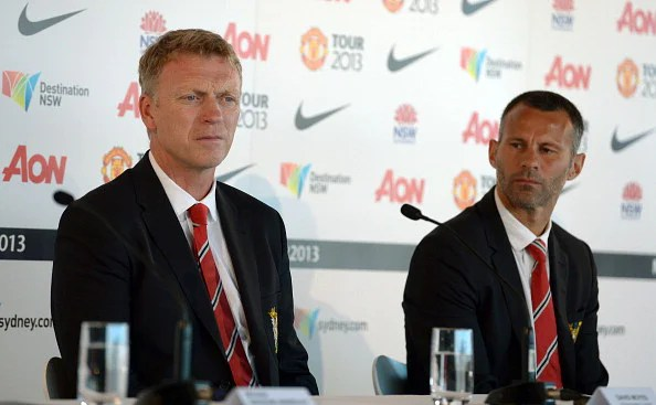 Manchester United manager David Moyes and winger Ryan Giggs.