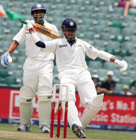 Sreesanth celebrates hitting six runs off Andre Nel
