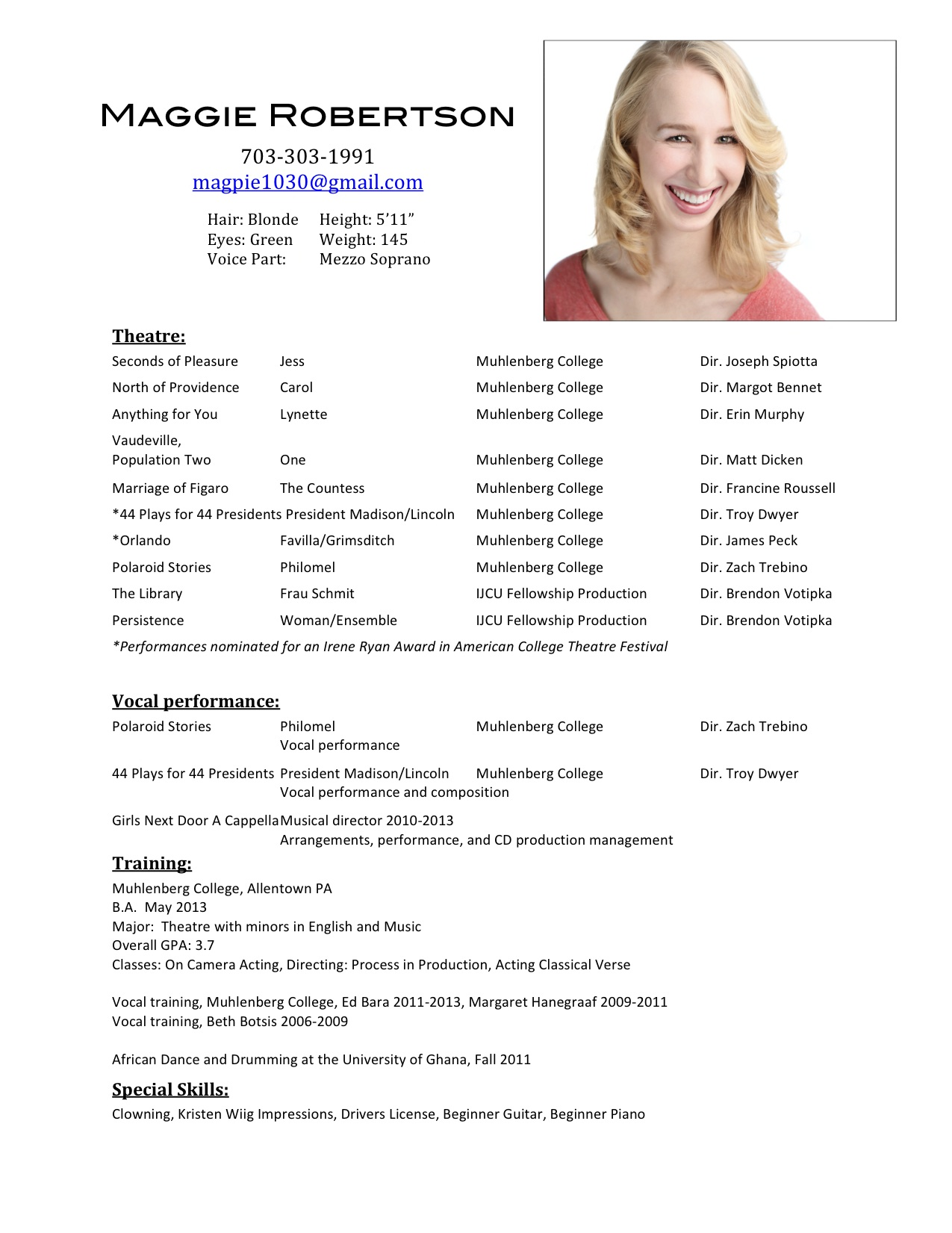 how to write a acting resumes