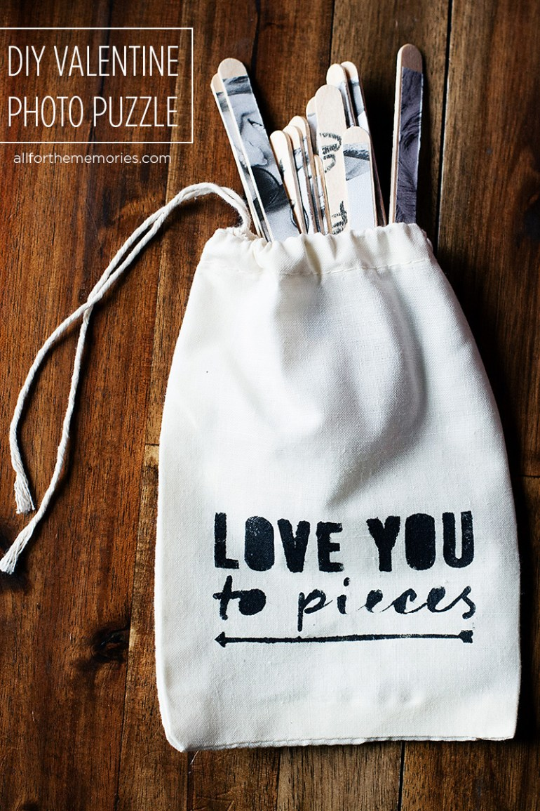 DIY Valentine photo puzzle and storage bag. Include a love note or secret message on the back! - from All for the Memories