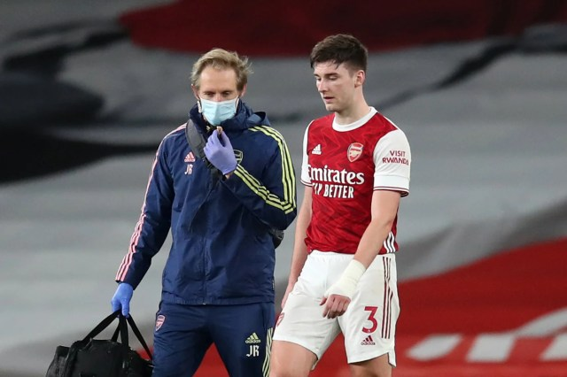 Kieran Tierney set to miss Arsenal's Europa League quarter-final after knee injury update