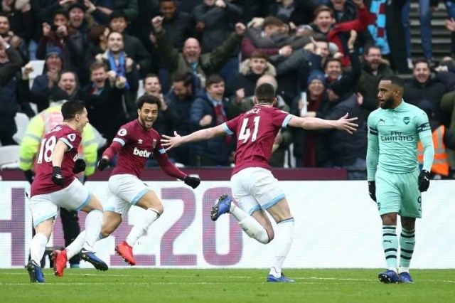 Bildergebnis für West Ham Teenager Rice gives Hammers rare win over Arsenal