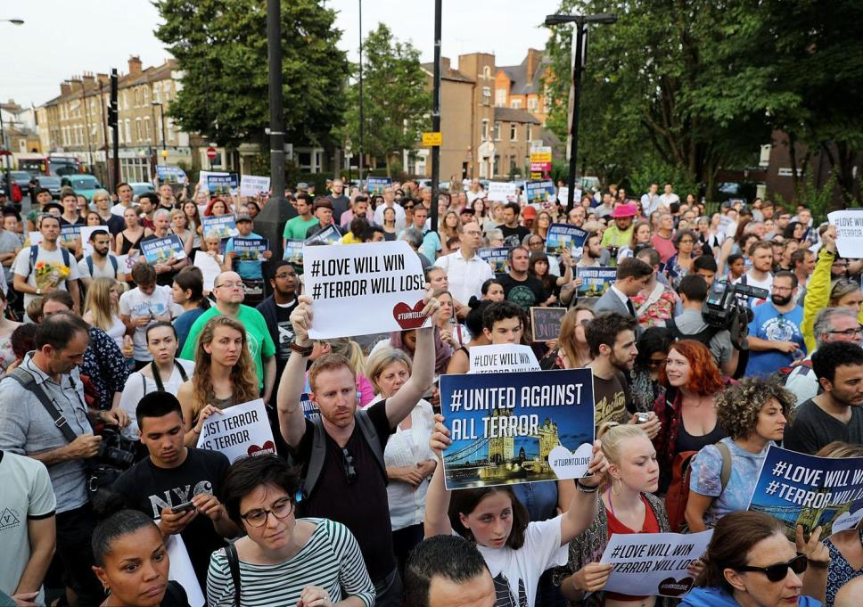 Huge crowds: Hundreds gathered in a show of solidarity
