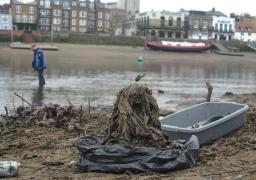 Filth: a clump of wet wipes near Hammersmith Bridge, where 115,000 have been pulled out so far this year