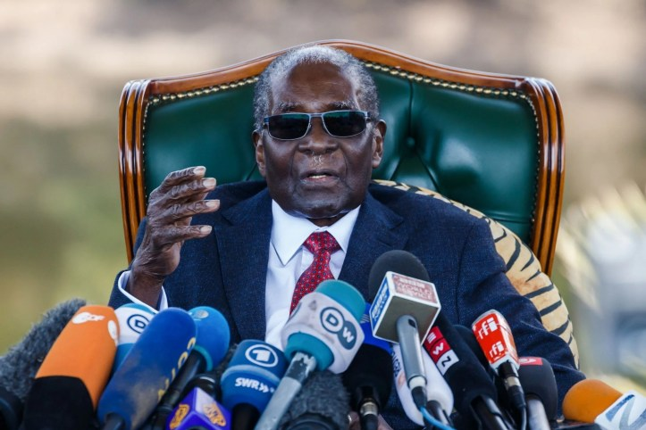 Robert Mugabe giving an address earlier this year