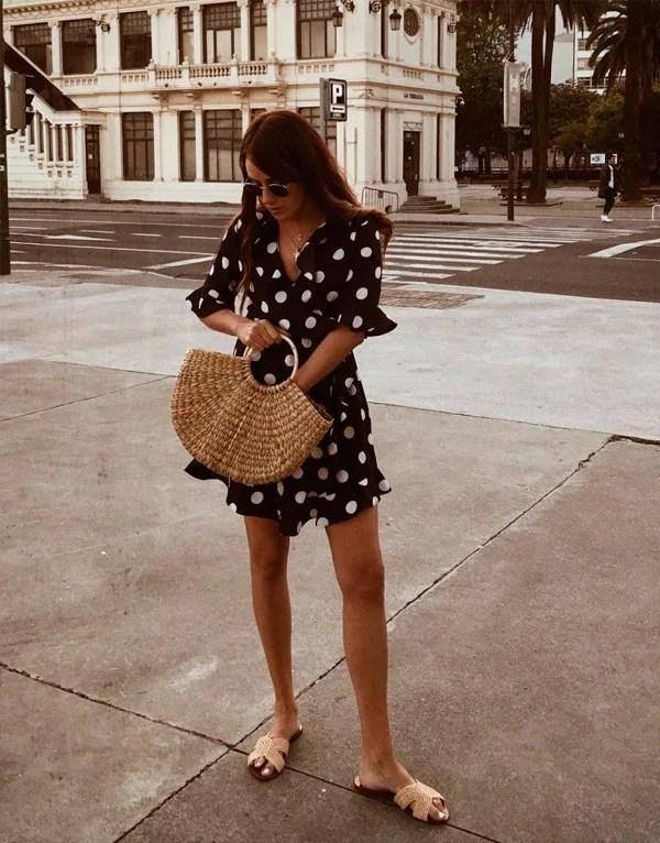 it-girl - vestido-curto-poá - poá - verão - street style