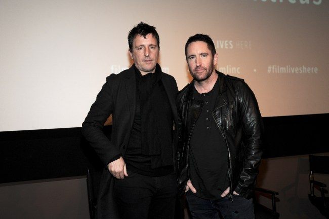 "NEW YORK, NY - DECEMBER 11:  (L-R) Atticus Ross and Trent Reznor attend the ""Gone Girl"" Special Screening at Elinor Bunin Munroe Film Center on December 11, 2014 in New York City.  (Photo by Rommel Demano/Getty Images)"