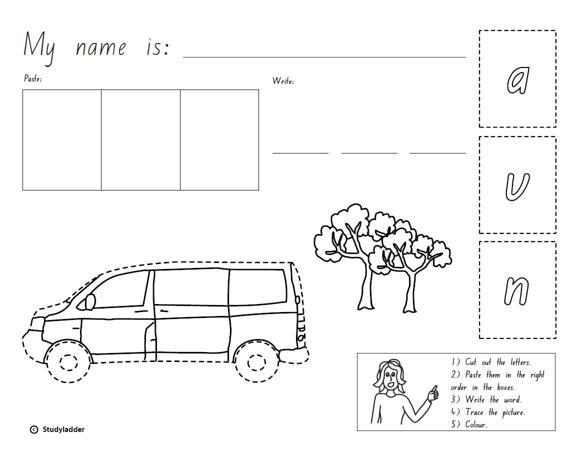 Cut Paste And Write The Word Van English Skills Online Interactive Activity Lessons