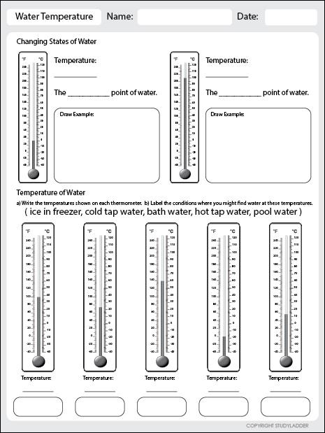 Water Temperature Worksheet Studyladder Interactive