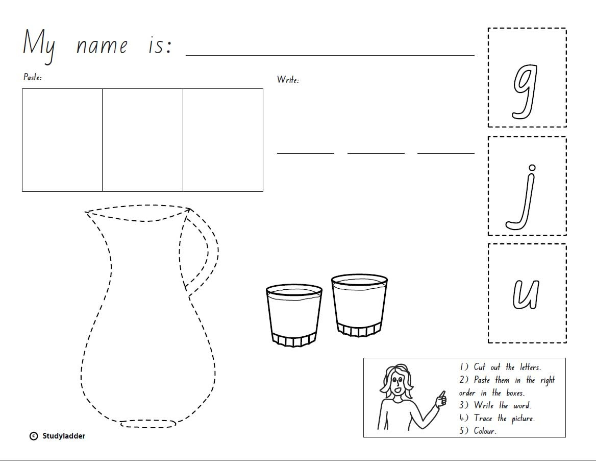 Cut Paste And Write The Word Jug