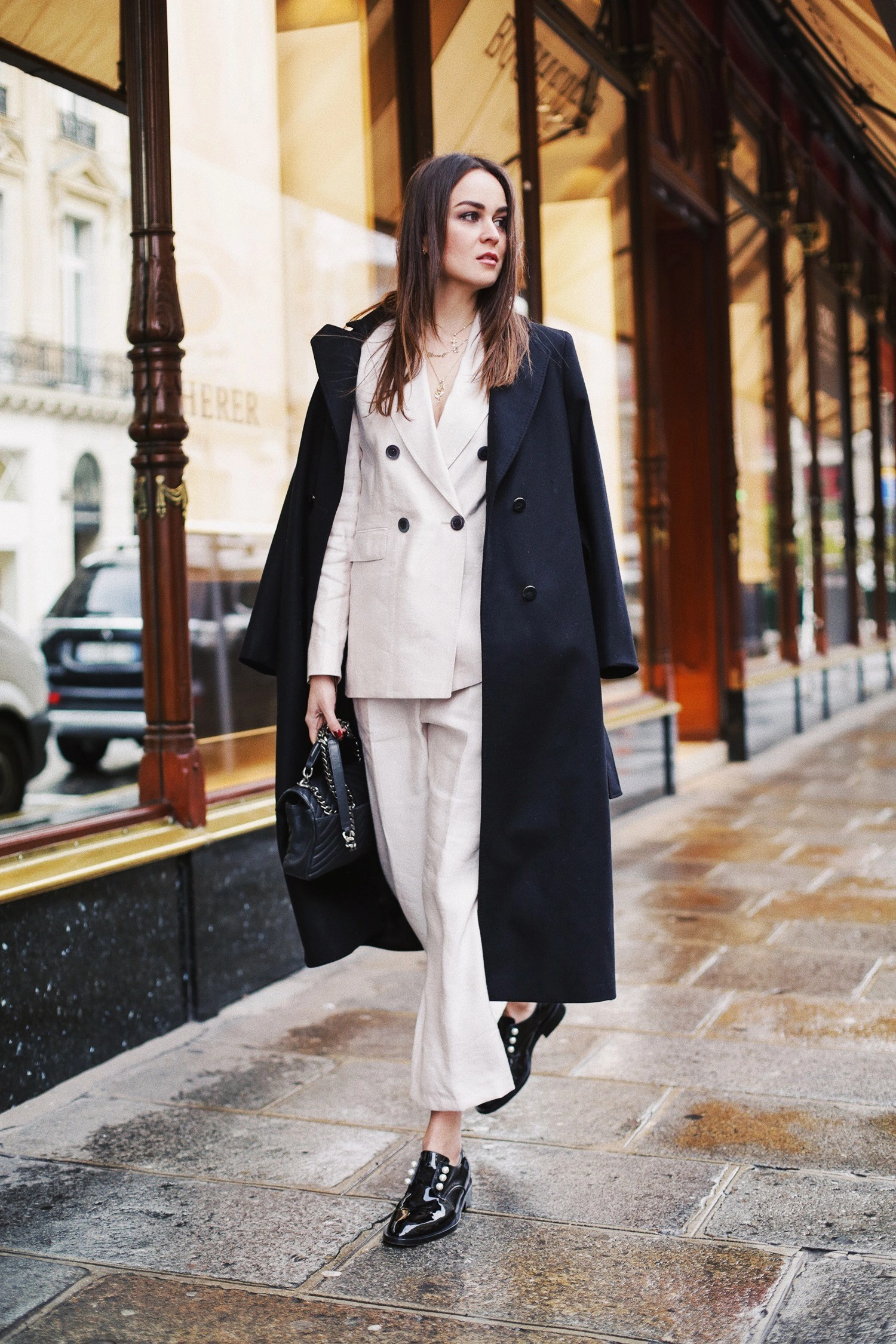 Dressed In Massimo Dutti For Their Show In Paris
