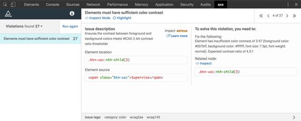 Das Axe-Zugang-Test-Tool scannt eine Webseite und hebt Bereiche hervor, die nicht konform sind