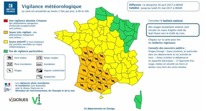 Orages Violents annoncés sur Tarbes et tout le sud ouest