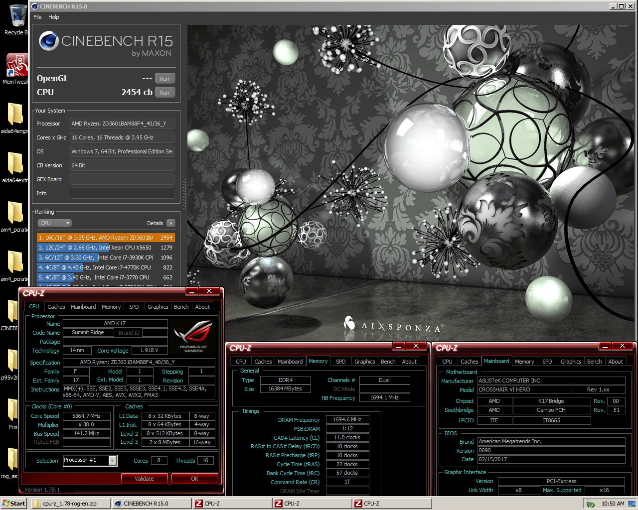AMD R7 1800x Cinebench