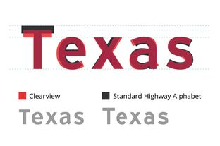 An overlay of the Clearview font that Texas began using about a decade ago on highway signs and the traditional Standard Highway Alphabet font.