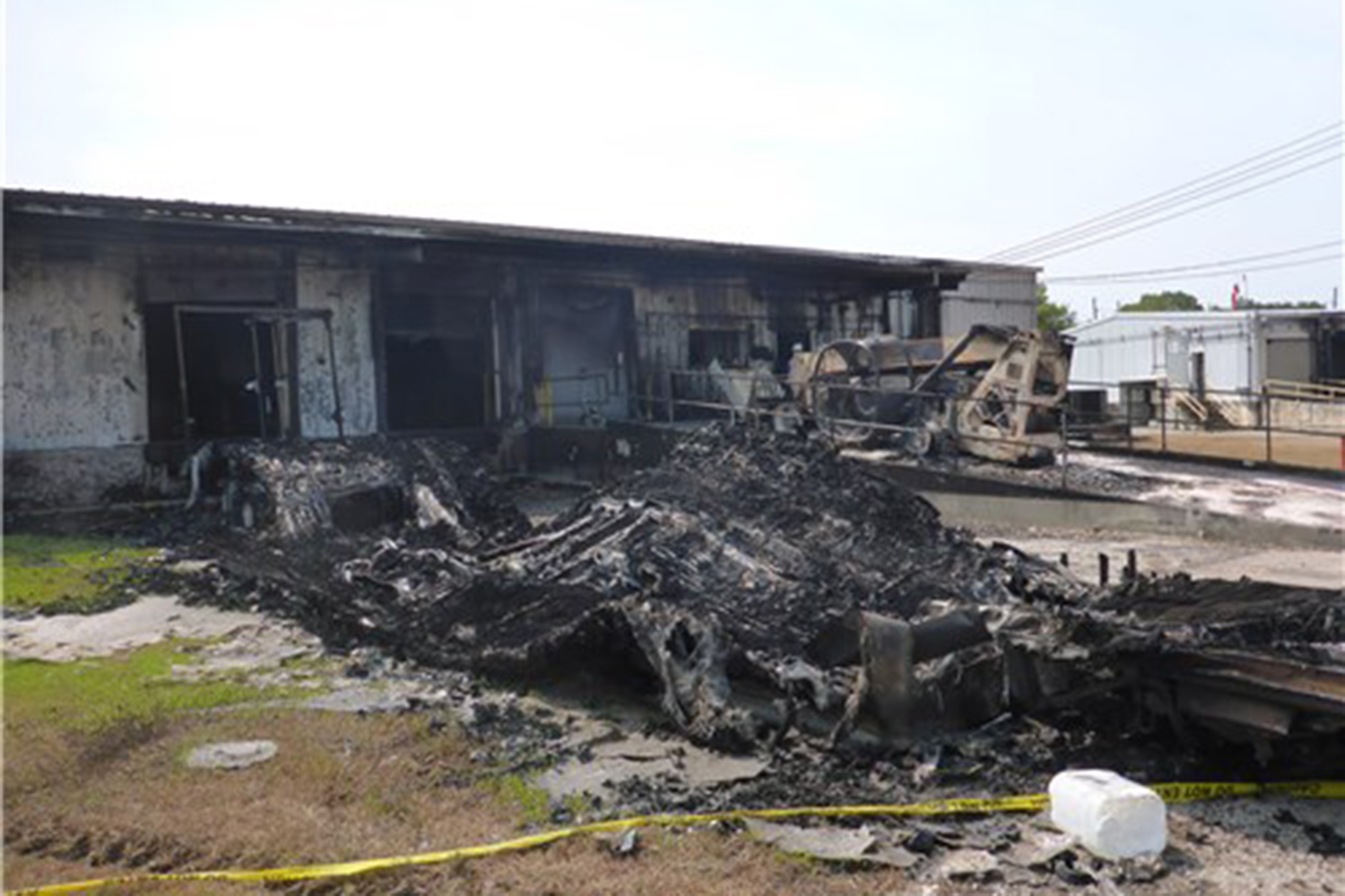 Debris resulting from a series of chemical fires at the Arkema plant in Crosby, Texas.