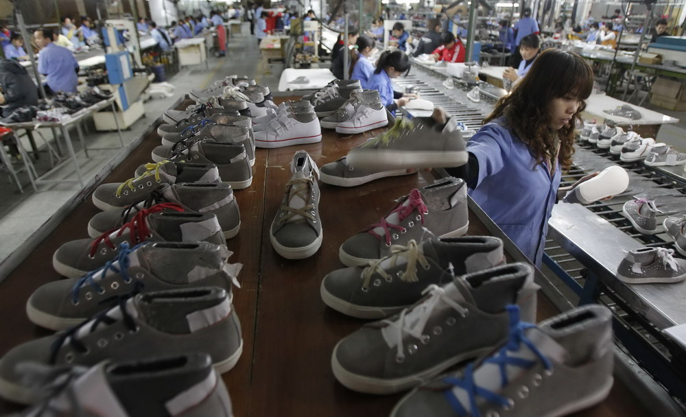 A footwear factory in Hanoi. Photo: Reuters