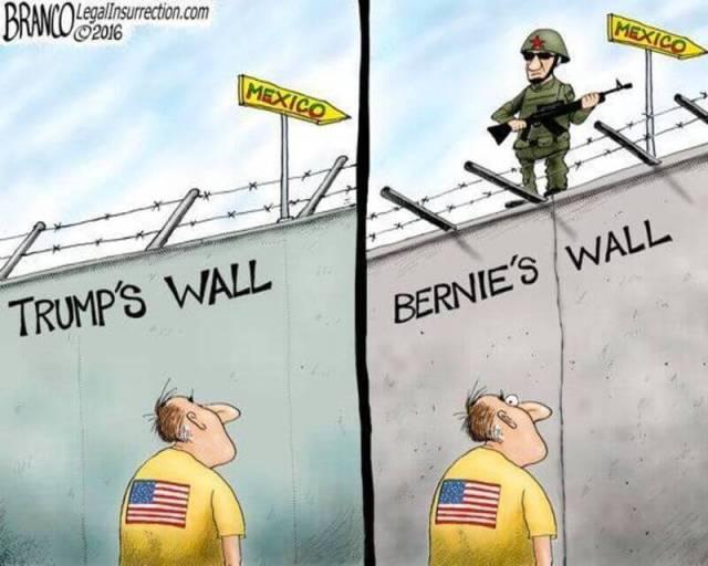 Trump border wall verus Bernie Sanders border wall cartoon