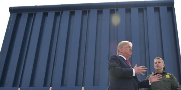 US President Donald Trump inspects border wall prototypes in San Diego, California on March 13, 2018.