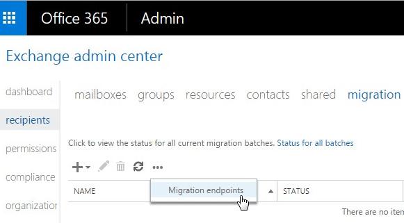 Office 365 Exchange Migration Menu