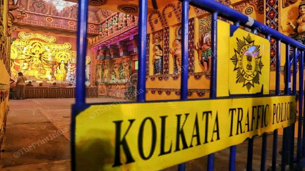 Barricades outside a Durga Puja pandal in Kolkata   Manisha Mondal   ThePrint
