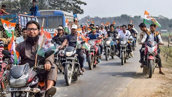 (Representational image) Trinamool Congress supporters at a party rally in Nadia district   PTI file image