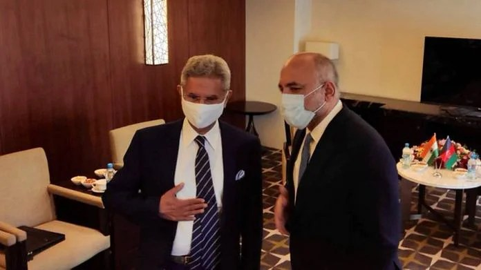 External Affairs Minister S Jaishankar with Afghan Foreign Minister Mohammad Haneef Atmar in Dushanbe | Twitter | @DrSJaishankar