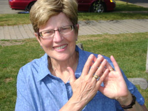 Sharon Loton with the recovered 1937 Class Ring
