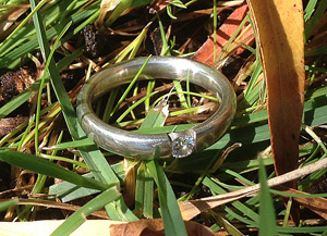 This is the diamond wedding ring Regina lost while camping in Almaden Valley, San Jose