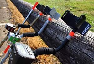 Jon Baughman, an experienced metal detecting specialist and member of The Ring Finders Metal Detecting Service, demonstrates how he uses different metal detectors and equipment to find customers' lost rings and other objects. / Michael Lehmkuhle/The Advocate