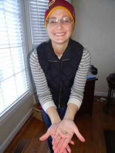 Bridget beaming now that her diamond and setting was recovered from the snow!