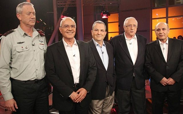 Hail the chiefs. (From left) Current IDF chief of staff Gantz and predecessors-turned-politicians Dan Halutz, Ehud Barak, Amnon Lipkin-Shahak and Shaul Mofaz, pictured last year. (photo credit: Meir Partush/Flash90)