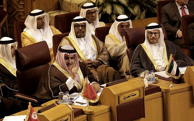 Bahraini Foreign Minister Khalid bin Ahmed al-Khalifa, left, speaks during a meeting at the Arab League headquarters in Cairo, Egypt, November 19, 2017. (AP Photo/Nariman El-Mofty)