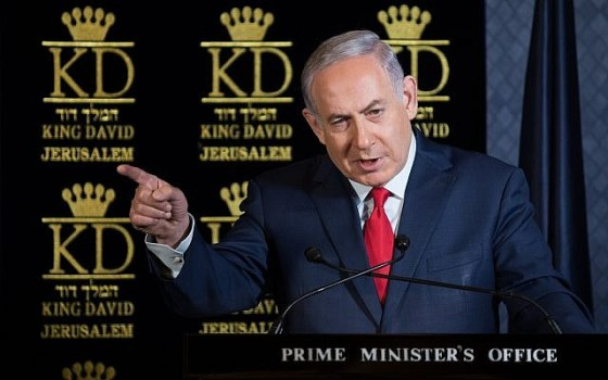 Prime Minister Benjamin Netanyahu speaks during lunch with NATO ambassadors to Israel at the King David hotel in Jerusalem on January 9, 2018. (Hadas Parushl/Flash90)