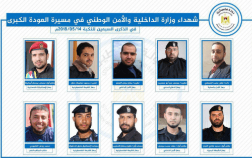 Hamas press release on May 15, 2918, announcing the deaths of 10 of its Interior Ministry members in clashes with the IDF the day prior. (Courtesy)