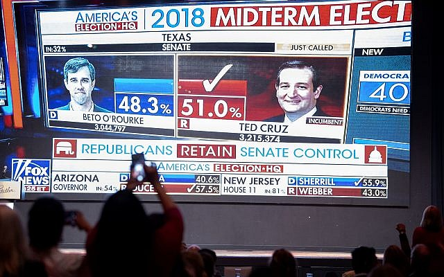 Fox News announces US Sen. Ted Cruz as the winner over Rep. Beto O'Rourke during the Dallas County Republican Party election on Nov. 6, 2018 at The Statler Hotel in Dallas. (AP Photo/Jeffrey McWhorter)