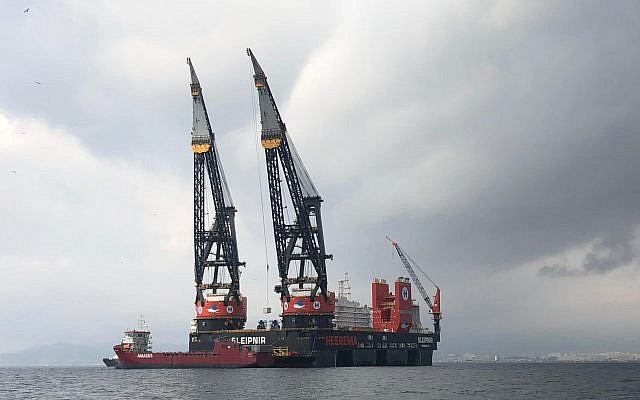 A marine crane vessel en route to Israel to set up the Leviathan natural gas platform  9.7 km (6 miles) from the popular Dor Beach, north of Caesarea. (Noble Energy)