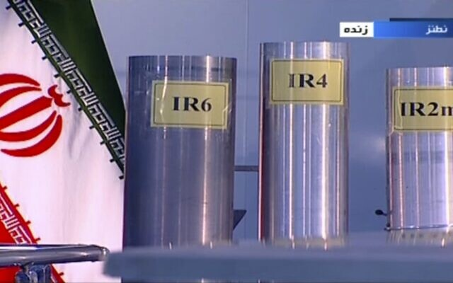 In this June 6, 2018 frame grab from the Islamic Republic Iran Broadcasting, IRIB, state-run TV, three versions of domestically-built centrifuges are shown in a live TV program from Natanz, an Iranian uranium enrichment plant, in Iran. (IRIB via AP, File)