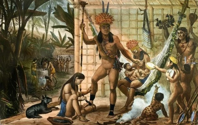 Família de um chefe indígena Camacan preparando-se para um Festival, de Jean-Baptiste Debret