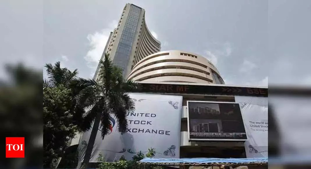 Sensex ends marginally higher; Nifty stays below 14,700 – Times of India
