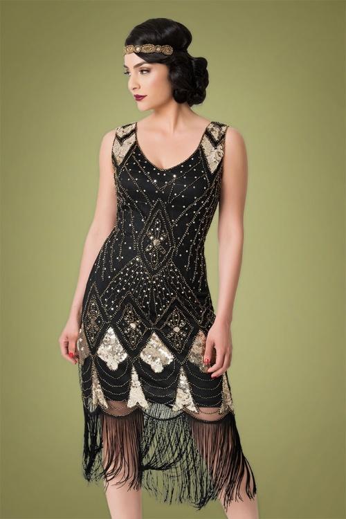 20s Lina Fringe Flapper Dress in Black and Gold
