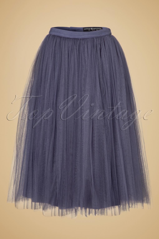 50s Wanda Midi Tulle Skirt In Lavender Grey