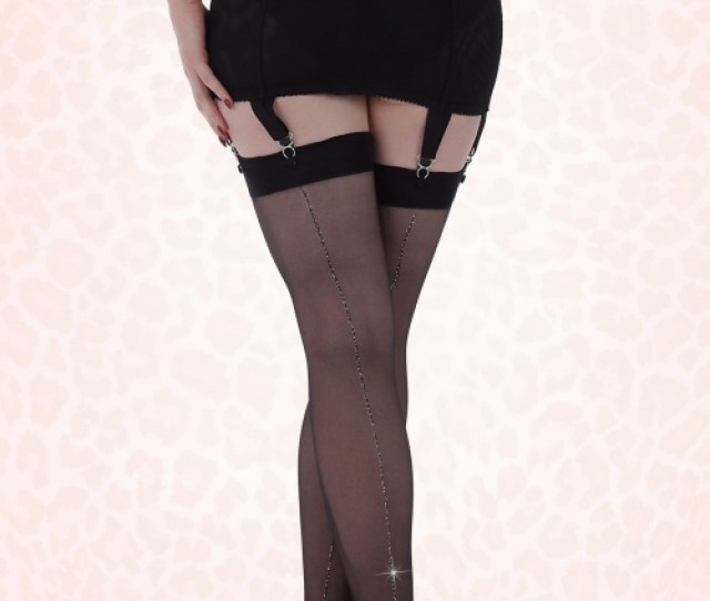 What Katie Did Seamed Stockings Metalic Silver B
