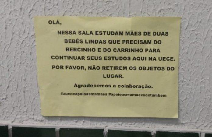 Além dos móveis, recados foram deixados para conscientizar os alunos (FOTO: Arquivo Pessoal)