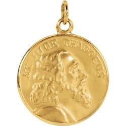 Round St Jude Thaddeus Pendant Medal 14K Gold The